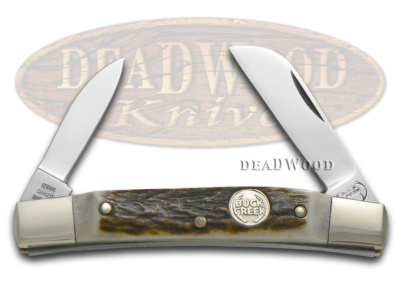 German Buck Creek Genuine Deer Stag Cobra Pocket Knife Knives