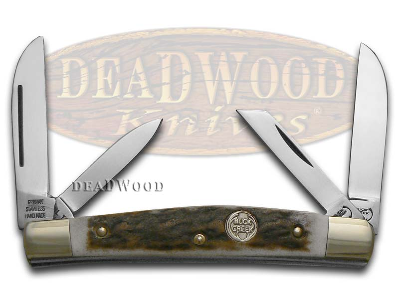 German Buck Creek Little Bear & Bull Stag Handles Pocket Knife Knives