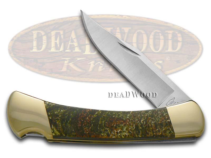 Buck 110 Custom Burly Oak Corelon Folding Hunter Pocket Knife Knives