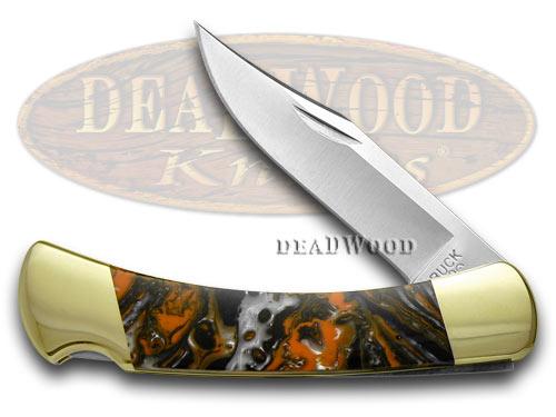Buck 110 Folding Hunter Custom Pumpkin Seed Corelon Pocket Knives