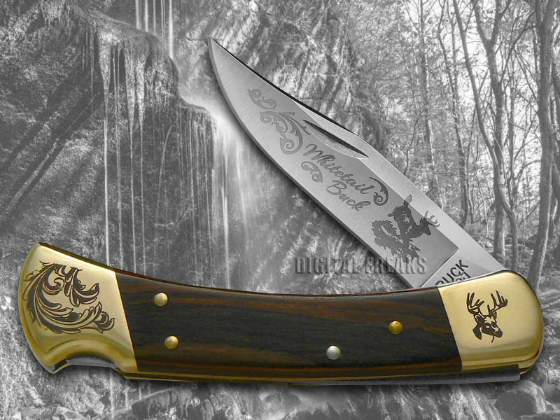 Buck 110 Wooden Whitetail Buck Scrolled Bolster Stainless