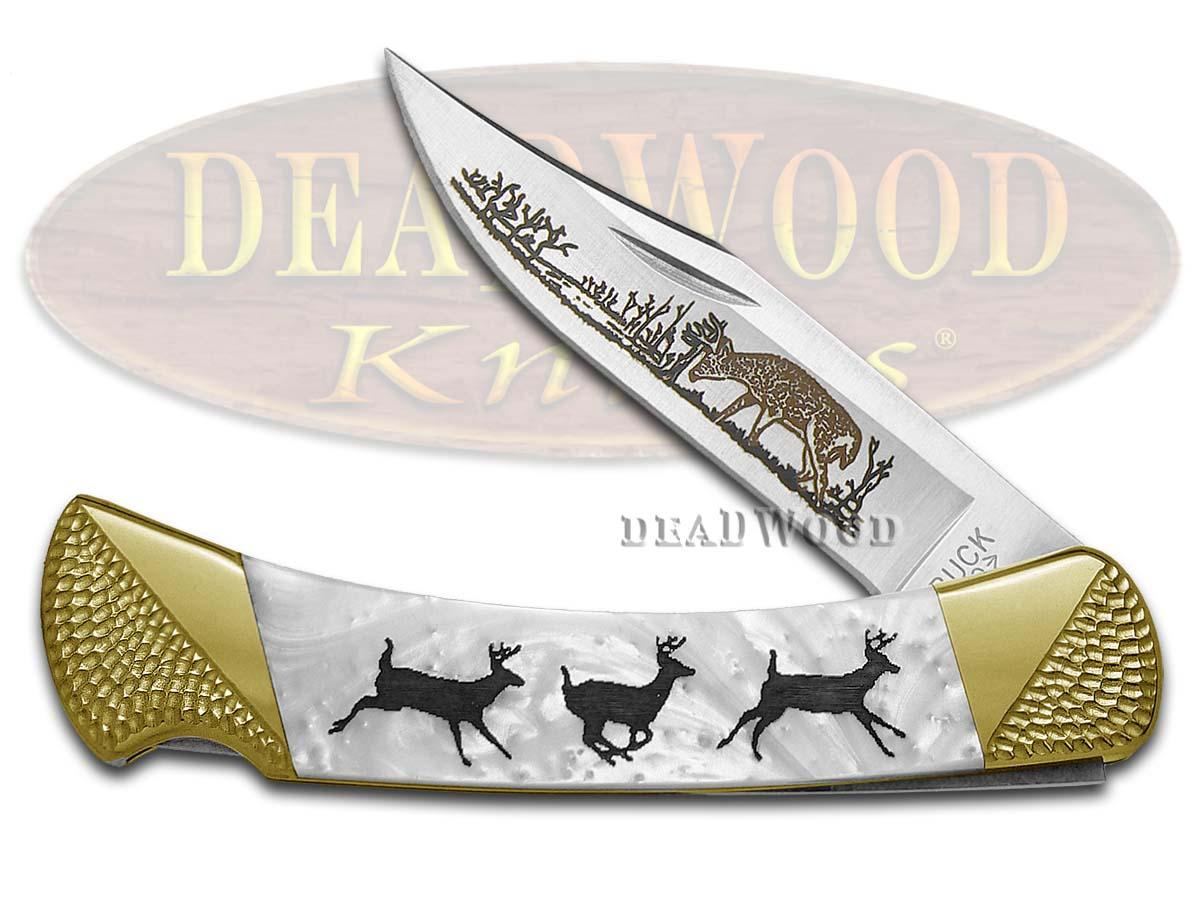 Buck 110 Custom White Pearl Corelon Running Deer 1/100 Pocket Knives