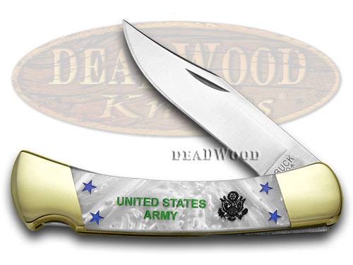 Buck 110 Folding Hunter Custom White Pearl Corelon Army Pocket Knives