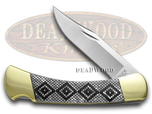 Buck 110 Folding Hunter Diamondback Custom White Pearl Corelon 1/400 Knives