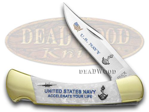 Buck 110 Foldin Hunter Custom White Pearl Corelon Navy 1/400 Pocket Knives