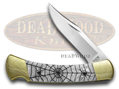 Buck 110 Folding Hunter RECLUSE Custom White Pearl Corelon Knives