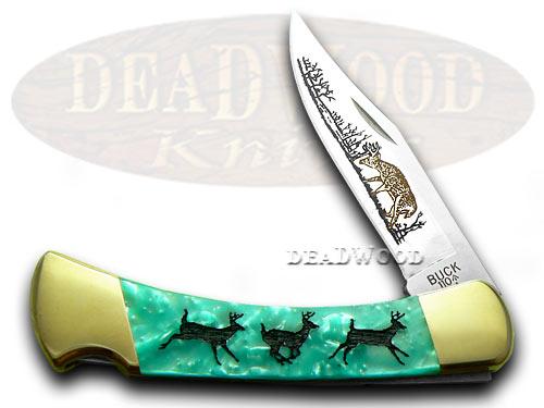 Buck 110 Custom Turquoise Mist Corelon Running Deer 1/400 Pocket Knife Knives