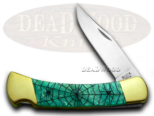 Buck 110 Custom Turquoise Mist Corelon Recluse 1/400 Pocket Knives