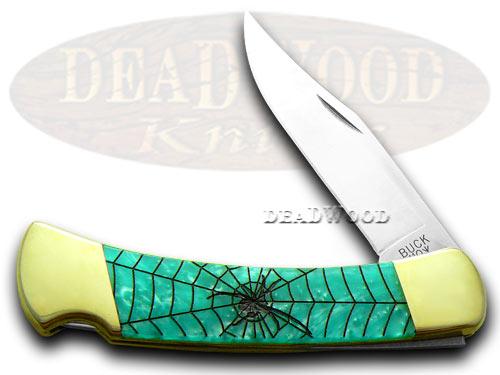 Buck 110 Custom Turquoise Mist Corelon Black Widow 1/400 Pocket Knives