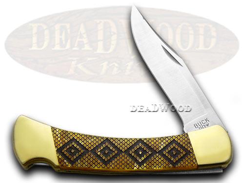 Buck 110 Custom Gold Corelon Diamondback 1/400 Hunter Pocket Knives