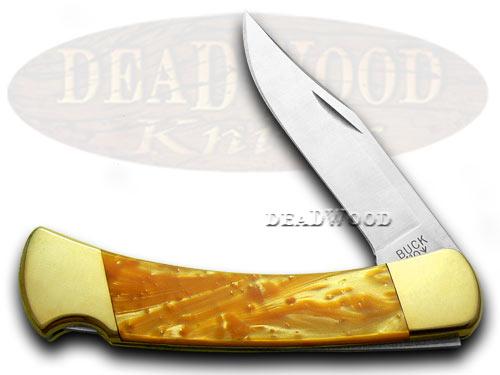 Buck 110 Folding Hunter Custom Antique Gold Corelon Pocket Knife Knives
