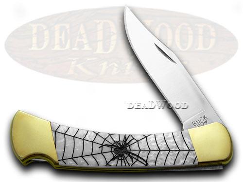 Buck 110 Black Widow Custom White Pearl 1/400 Hunter Pocket Knives
