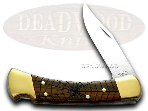 Buck 110 Black Widow Wooden Folding Hunter 1/400 Custom Pocket Knife Knives