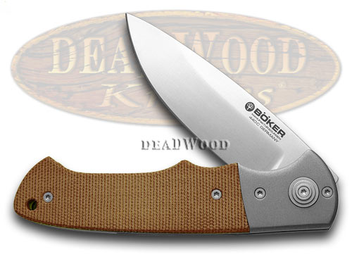 Boker Tree Brand Brown Canvas Micarta Titan Hunter Pocket Knife Knives