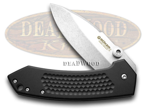 Boker Tree Brand Textured Black Aluminum Solo Liner Lock Pocket Knife Knives