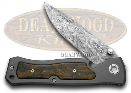 Boker Tree Brand Aluminum and Ziracote Wood Damascus Limited Edition Liner Lock Pocket Knife Knives