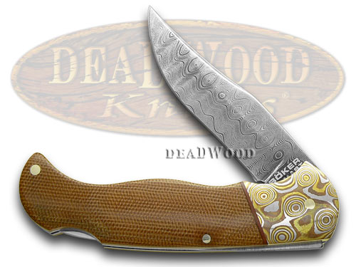 Boker Tree Brand Mokume Damascus Brown Canvas Micarta Lockback 1/199 Pocket Knife Knives