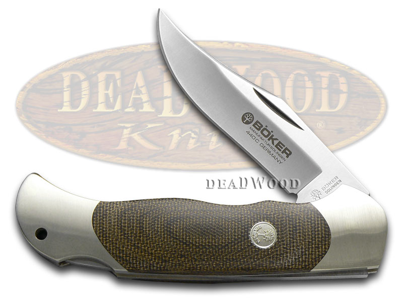 Boker Tree Brand Green Micarta Optima Folding Hunter Stainless Pocket Knife Knives