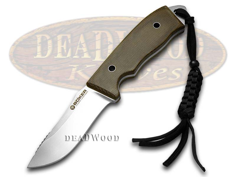 Boker Tree Brand Solid Forest Green Canvas Micarta Fixed Blade Knife Knives