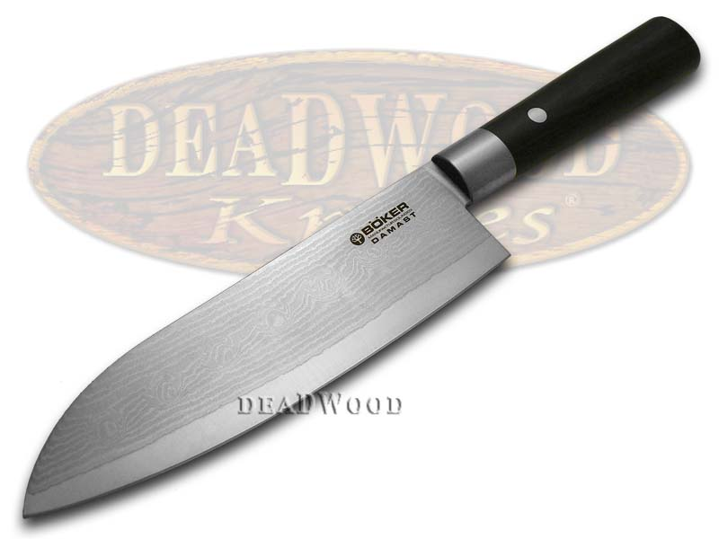 Boker Tree Brand Damascus Premium Kitchen Cutlery Smooth Black Olive Wood Santoku Knife