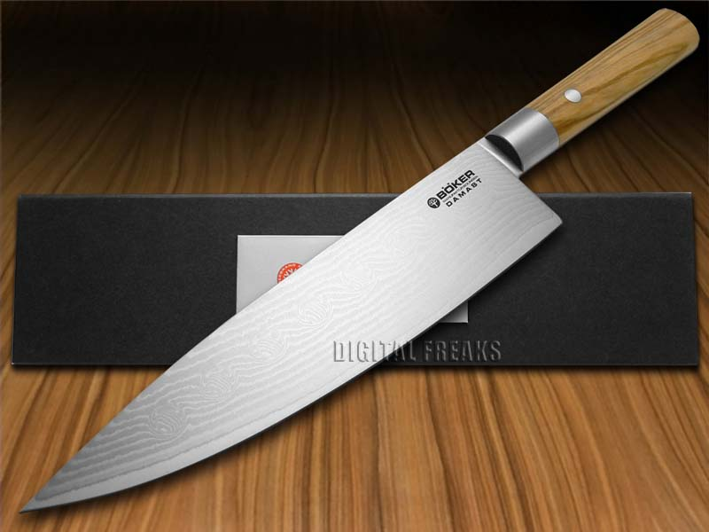 boker tree brand premium kitchen cutlery damascus olive wood chef 39 s knives knife ebay. Black Bedroom Furniture Sets. Home Design Ideas