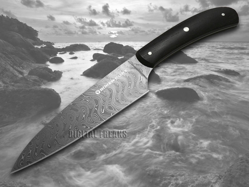 Boker Pure Premium Kitchen Cutlery Bog Oak Wood Damascus