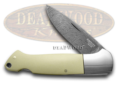 Boker Tree Brand Ivory Micarta Damascus 1/999 Folder Pocket Knife Knives