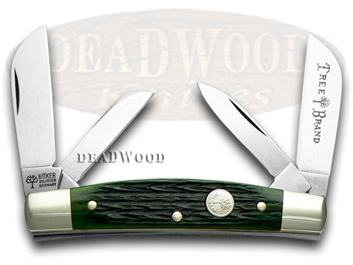 Boker Tree Brand Jigged Green Bone Congress Pocket Knife Knives