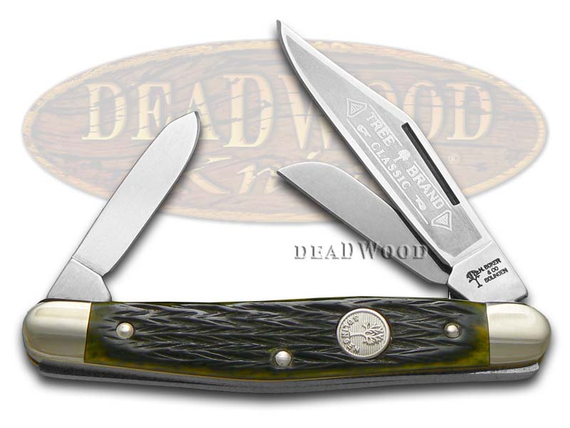 Boker Tree Brand Green Bone Stockman Pocket Knife Knives
