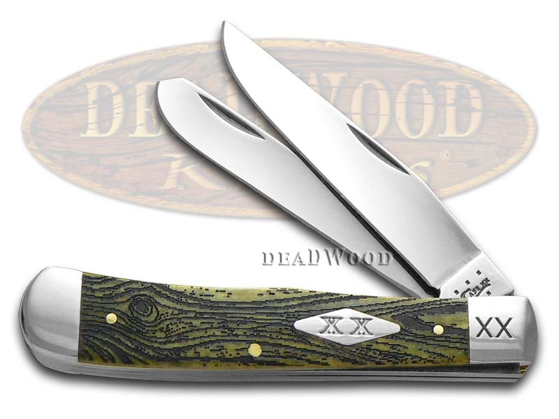 Case xx Wood Grain Olive Bone Trapper 1/500 Stainless Pocket Knife Knives