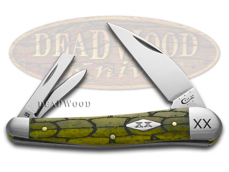 Case xx Tortoise Shell Olive Green Seahorse Whittler 1/500 Stainless Pocket Knife Knives