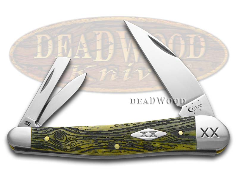 Case xx Wood Grain Olive Green Seahorse Whittler 1/500 Stainless Pocket Knife
