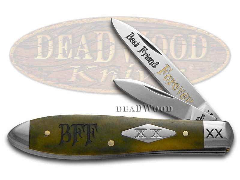 Case xx Best Friend Forever Olive Green Bone Tear Drop Jack 1/600 Stainless Pocket Knife