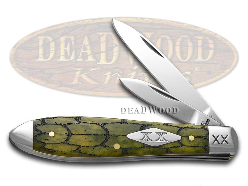 Case xx Tortoise Shell Olive Green Bone Tear Drop Jack 1/500 Stainless Pocket Knife Knives