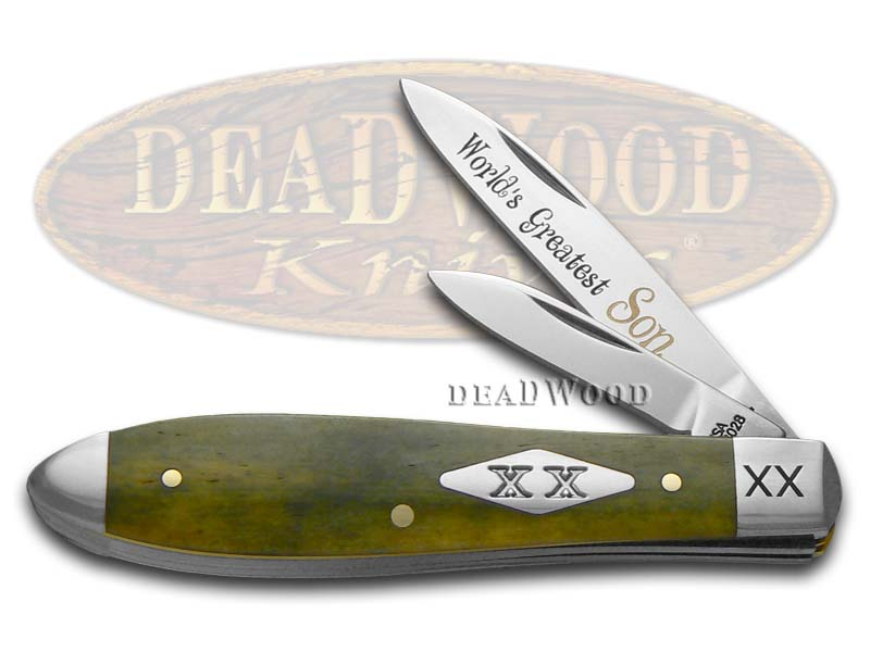 Case xx World's Greatest Son Olive Green Bone Tear Drop Jack 1/500 Pocket Knife Knives