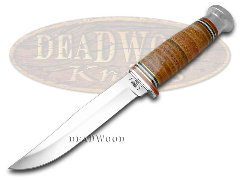 Case xx Mushroom Cap Brown Leather Fixed Clip Blade Hunter Stainless Knife Knives