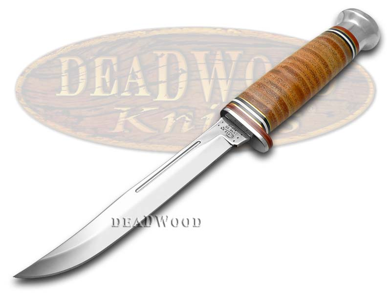 Case xx Mushroom Cap Brown Leather Slender Fixed Blade Hunter Stainless Knife