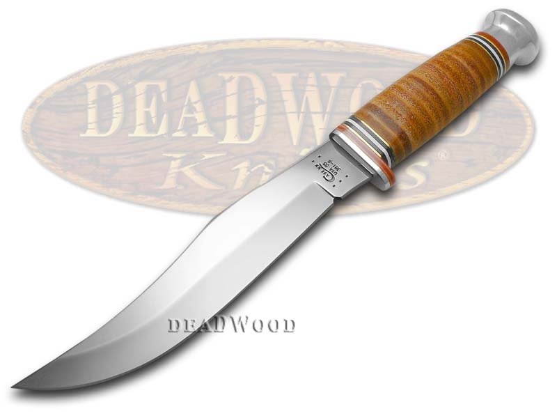 Case xx Mushroom Cap Brown Leather Large Skinner Blade Hunter Stainless Knife Knives