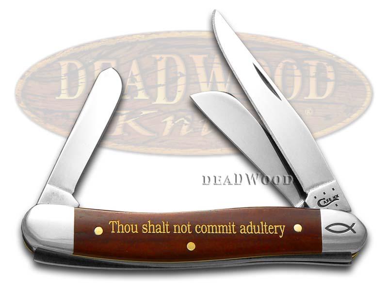 Case xx 7th Commandment Chestnut Bone Medium Stockman 1/500 Stainless Pocket Knife