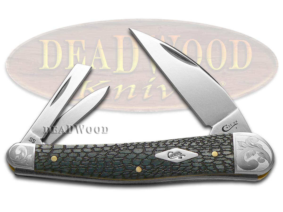 Case xx Alligator Skin Gray Bone Scrolled Seahorse Whittler 1/200 Stainless Pocket Knife Knives