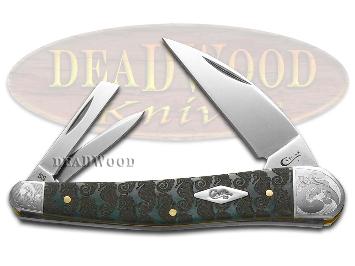 Case xx Etched Gray Bone Scrolled Seahorse Whittler 1/200 Stainless Pocket Knife Knives
