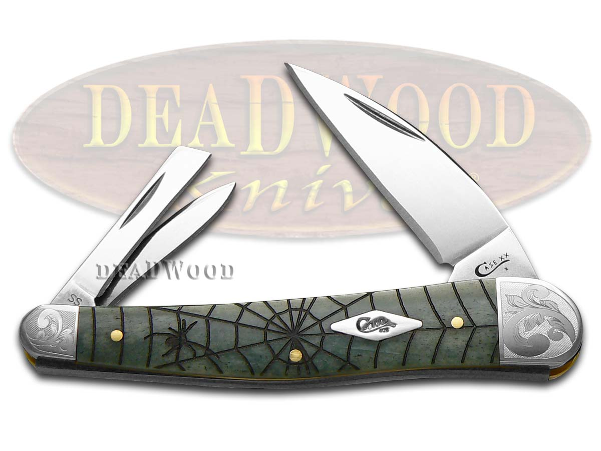Case xx Spider Web Gray Bone Scrolled Seahorse Whittler 1/200 Stainless Pocket Knife Knives