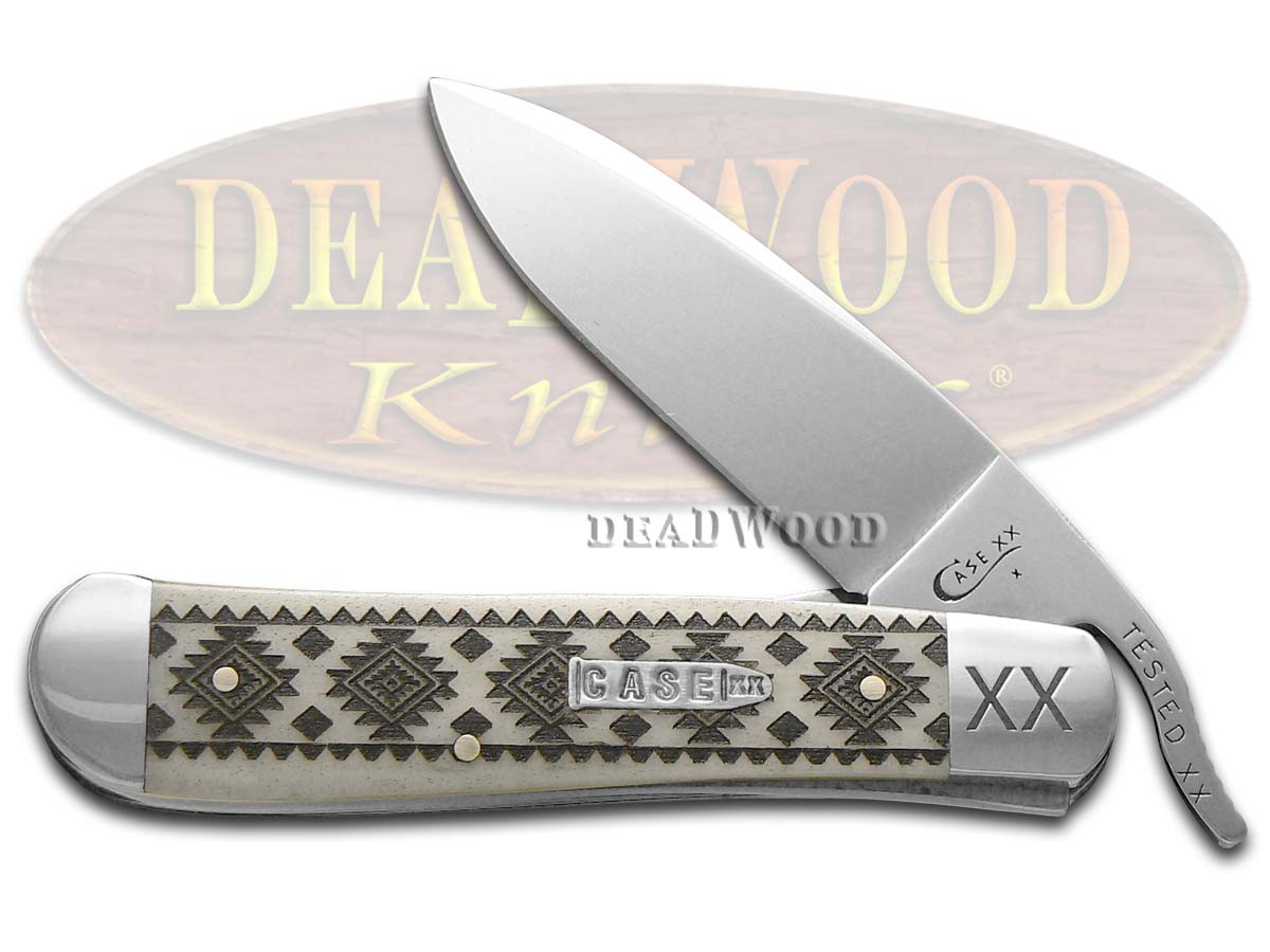Case xx Tribal Native American Pattern Natural Bone Russlock 1/500 Stainless Pocket Knife