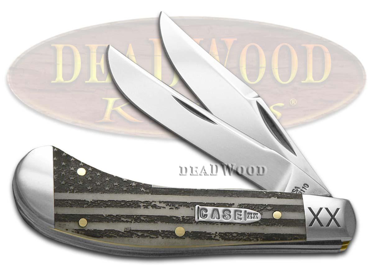 Case xx U.S. Flag Natural Bone Saddlehorn 1/500 Stainless Pocket Knife Knives