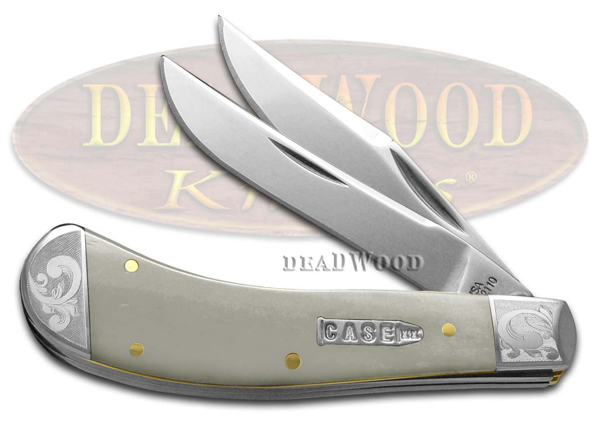 Case xx Smooth Natural Bone Scrolled Saddlehorn 1/300 Stainless Pocket Knife Knives