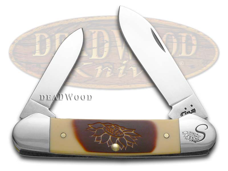 Case xx Brown & Cream Delrin Sunflower Canoe Stainless Pocket Knife Knives