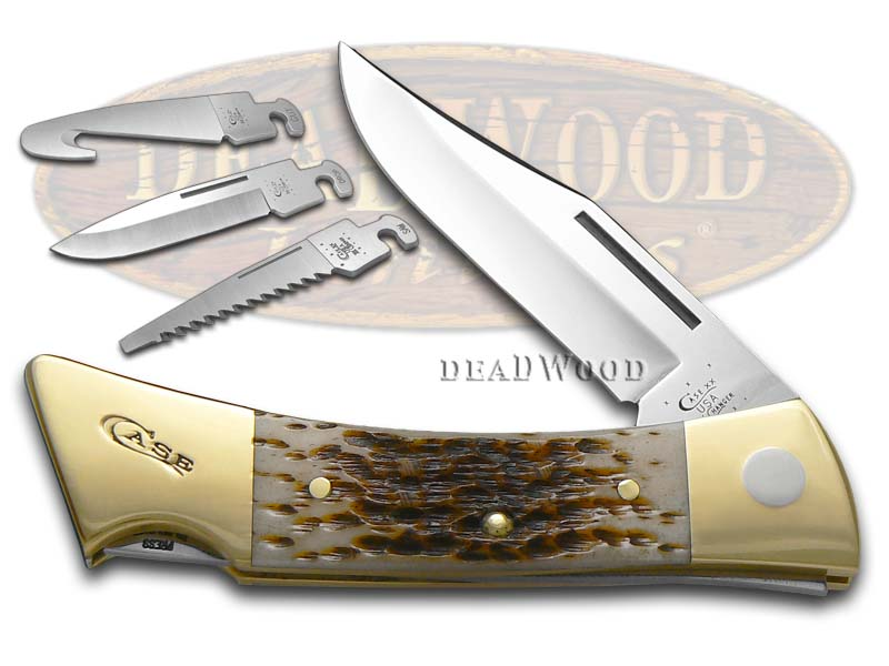 Case xx Jigged Amber Bone XX-Changer Stainless Hunting Pocket Knife Knives