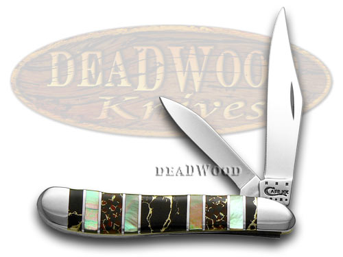 Case xx Exotic Black Aztec Stone Genuine Black Lip Pearl 1/500 Peanut Pocket Knife Knives