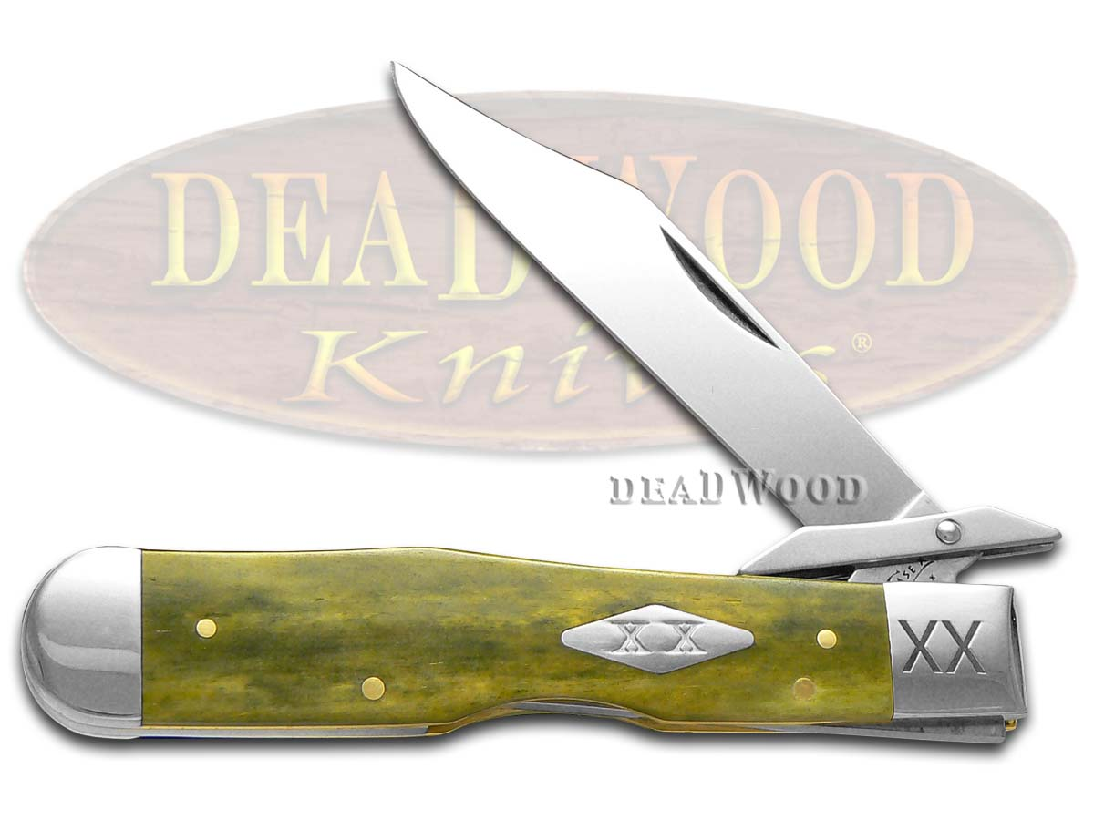 Case xx Smooth Olive Green Bone Cheetah 1/500 Stainless Pocket Knife Knives