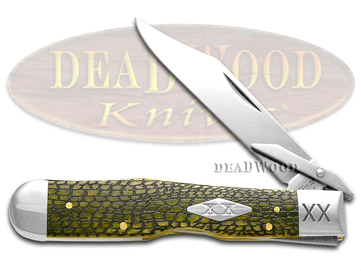 Case xx Alligator Skin Olive Green Bone Cheetah 1/500 Stainless Pocket Knife Knives